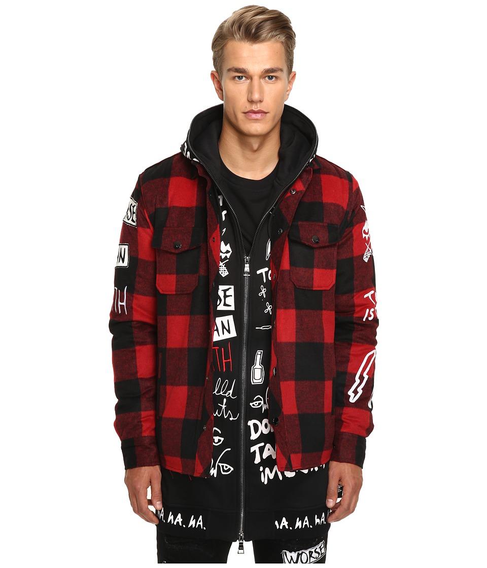 Haculla - Punkwork Overshirt (Red Plaid) Men's Clothing