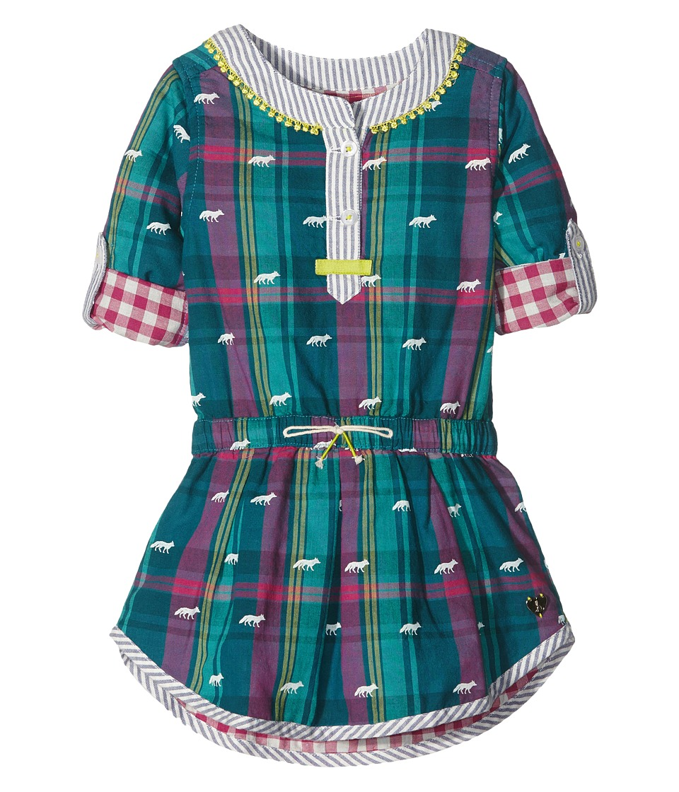 Hatley Kids - Winter Fox Bonded Plaid Dress (Toddler/Little Kids/Big Kids) (Green) Girl's Dress