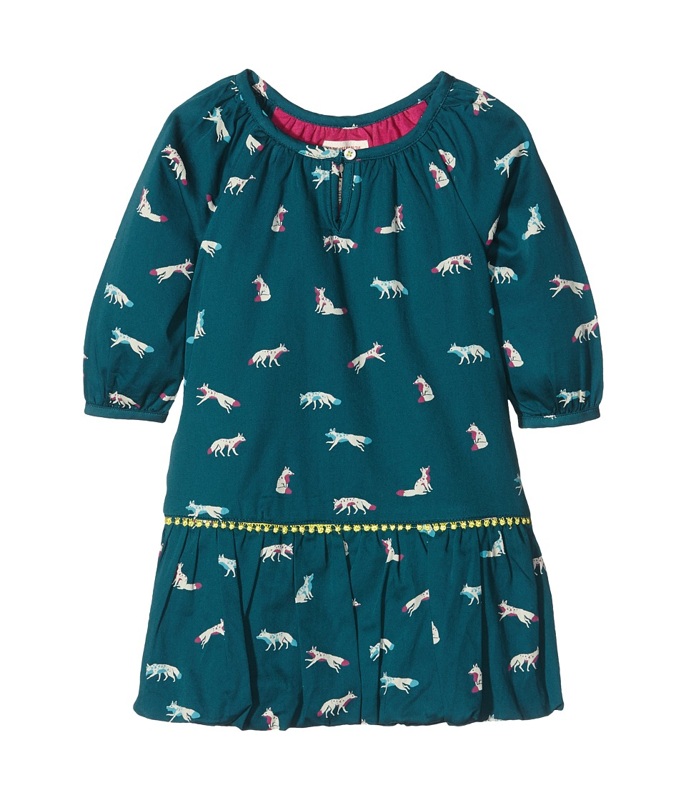 Hatley Kids - Winter Fox Pom Pom Dress (Toddler/Little Kids/Big Kids) (Green) Girl's Dress