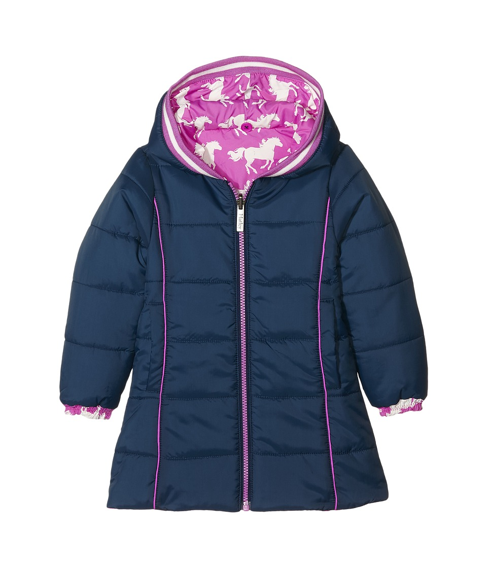 Hatley Kids - Fairy Tale Horses Reversible Winter Puffer (Toddler/Little Kids/Big Kids) (Pink) Girl's Coat