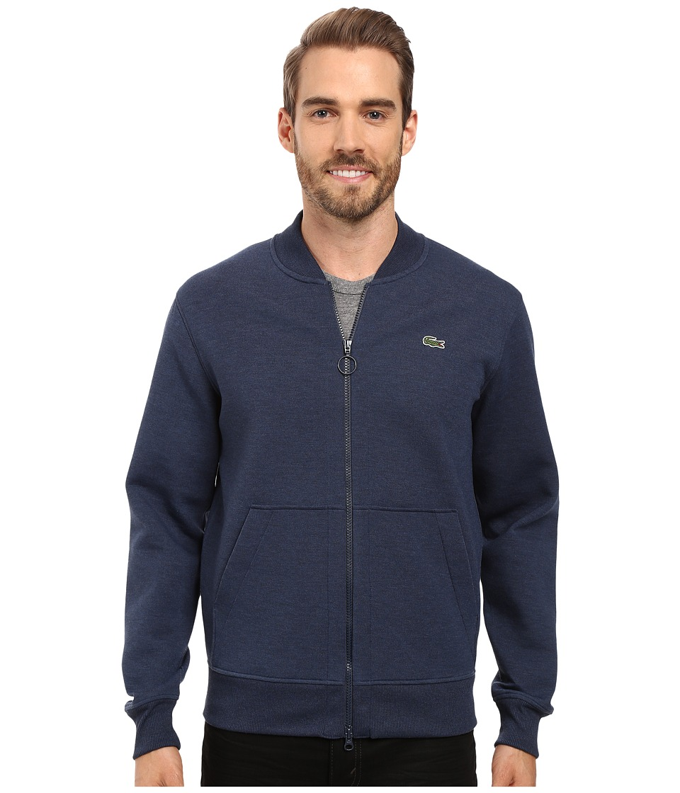 Lacoste - L!ve Long Sleeve Double Face Hybrid Bomber Sweatshirt (Midnight Blue Chine) Men's Sweatshirt