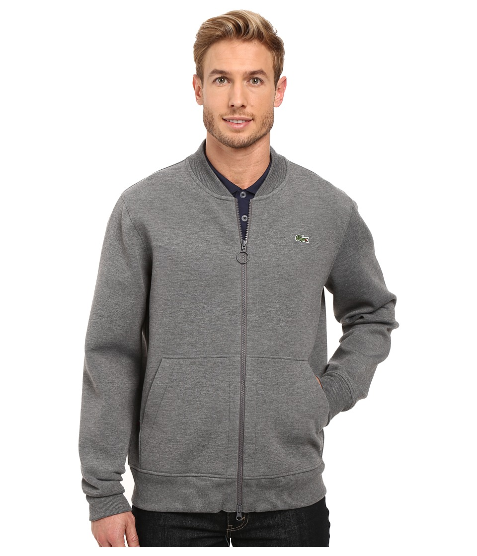 Lacoste - L!ve Long Sleeve Double Face Hybrid Bomber Sweatshirt (Medium Grey Jaspe) Men's Sweatshirt