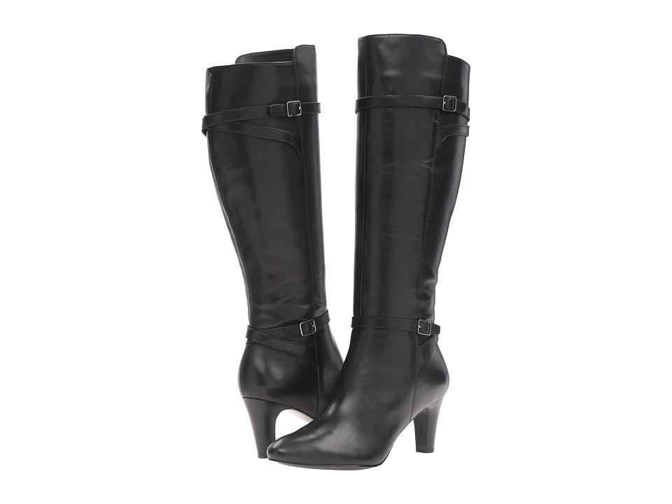 LAUREN Ralph Lauren Sabeen Black Burnished Calf Womens Slip-on Dress Shoes