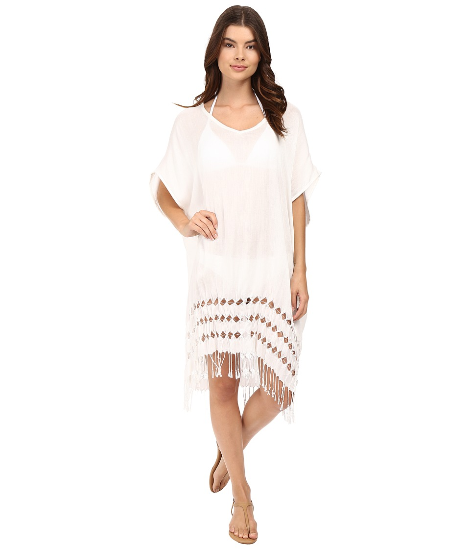 Bleu Rod Beattie - Feeling Knotty Knot Fringe Caftan Cover-Up (White) Women's Swimwear