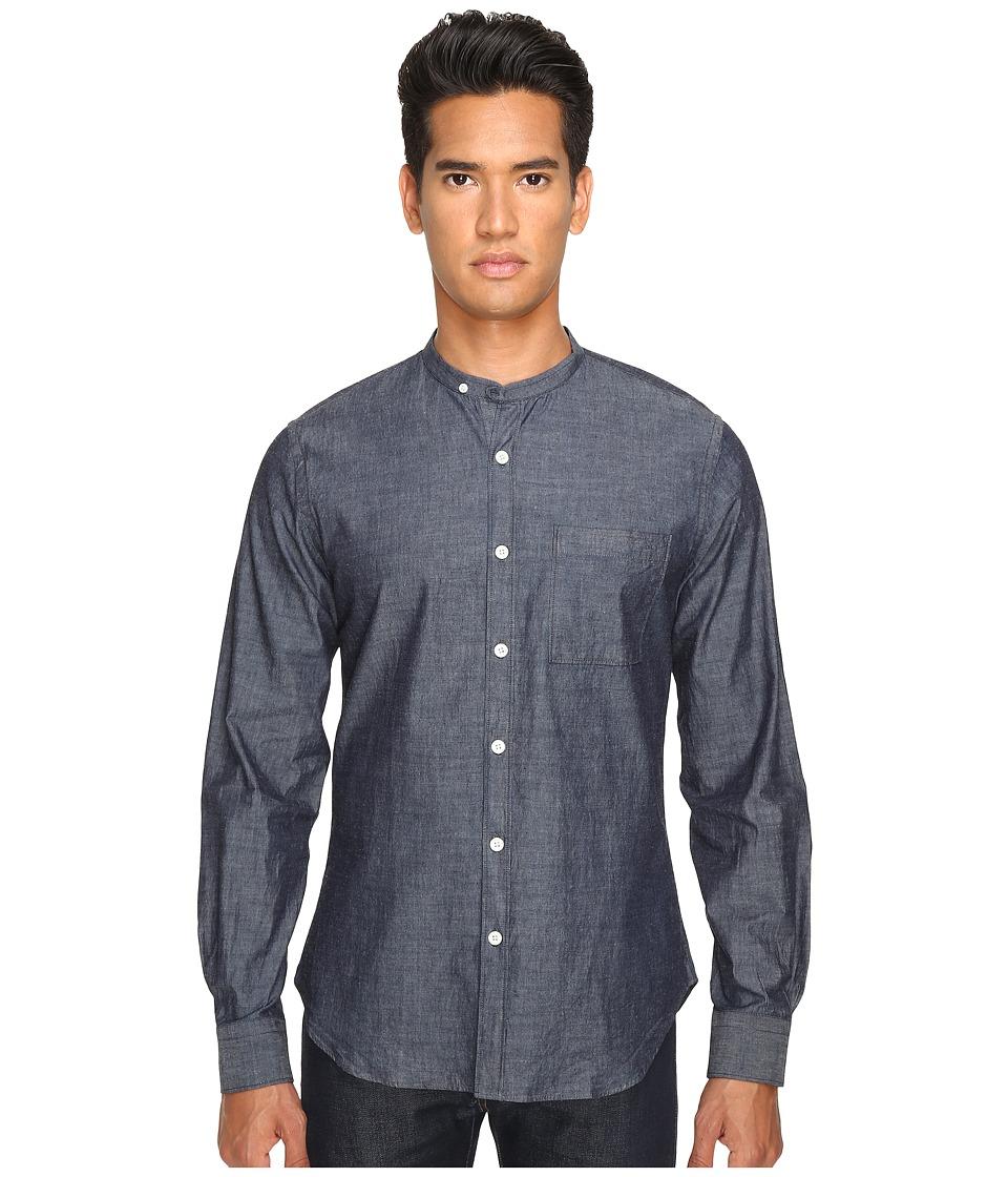 Todd Snyder - Chambray Band Collar w/ Pocket (Indigo) Men's Long Sleeve Button Up