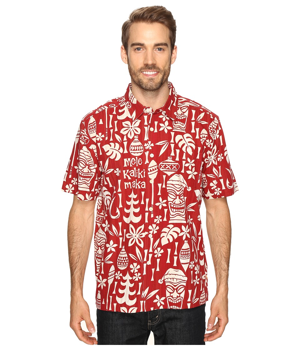 Quiksilver Waterman - Yuletide Mirth (True Red) Men's Short Sleeve Button Up