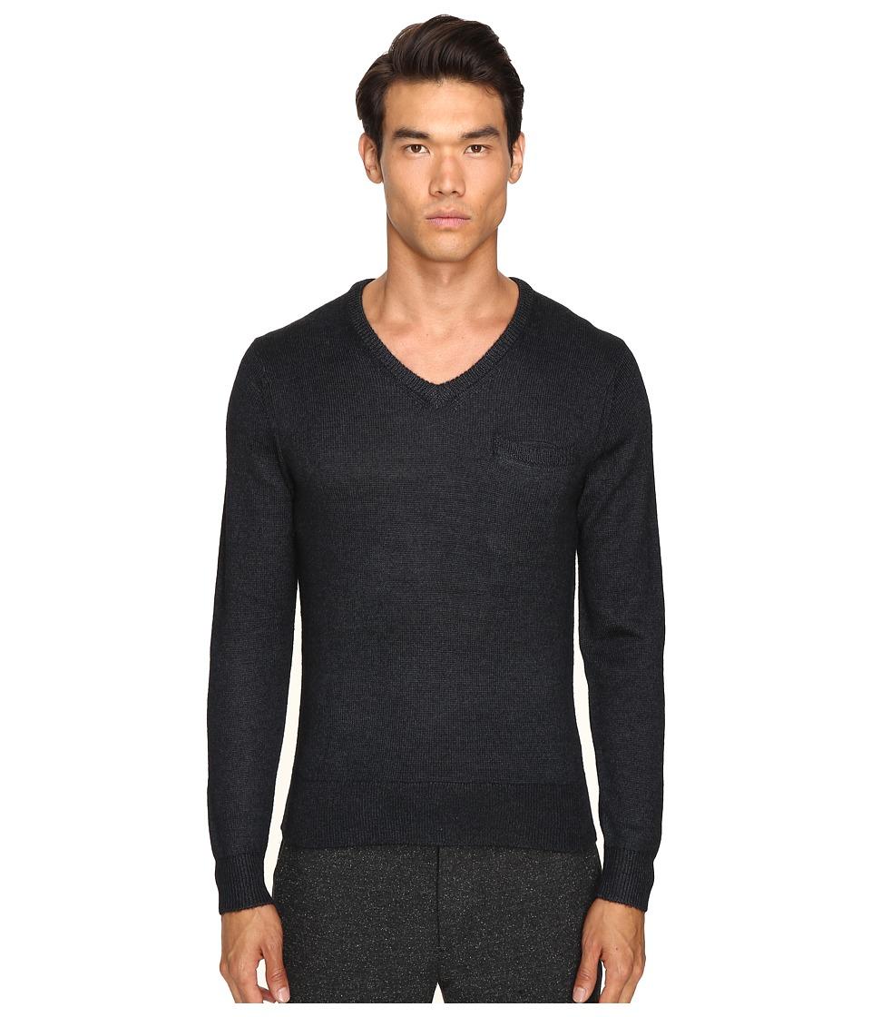 Todd Snyder - Alpaca Silk V-Neck Sweater (Black) Men's Sweater