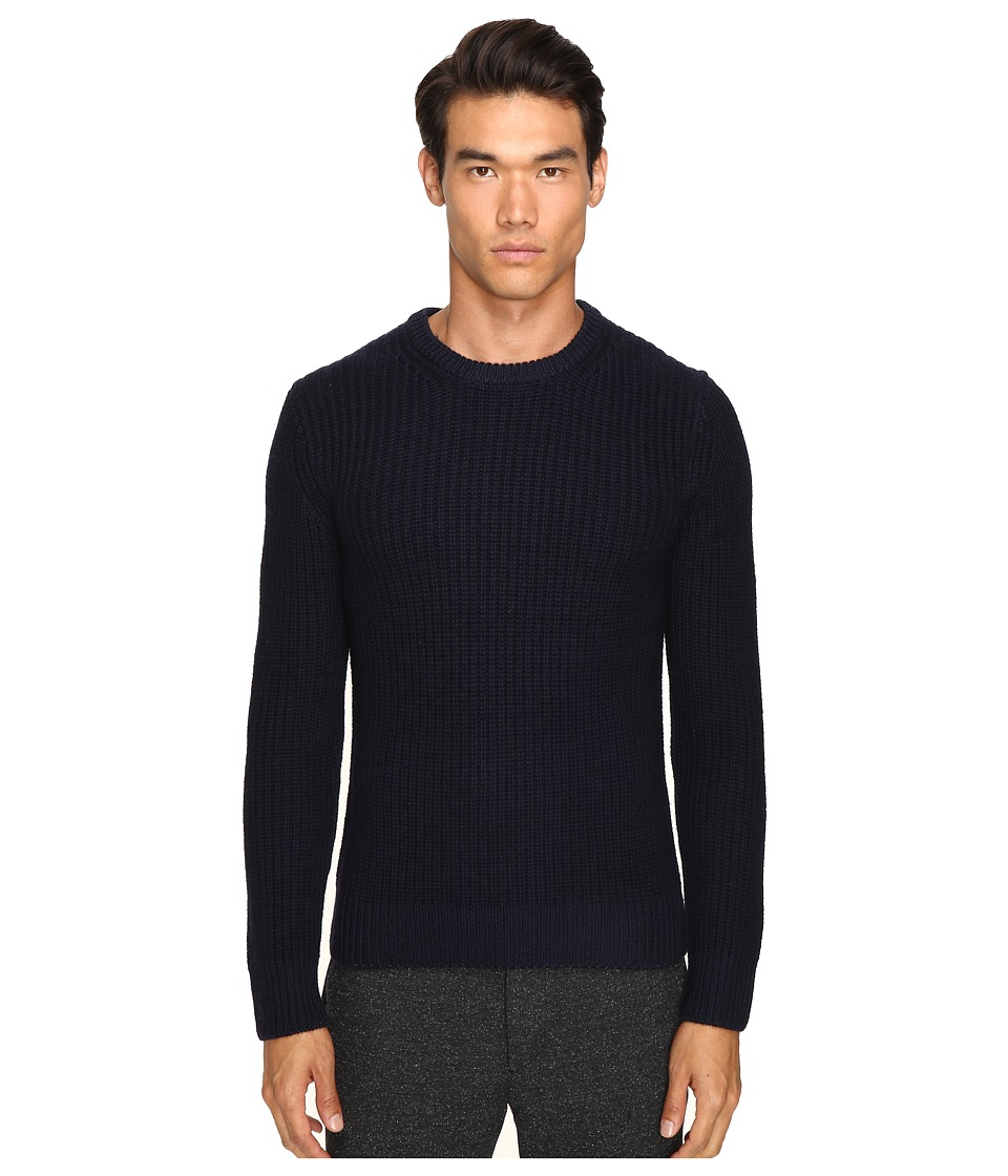 Todd Snyder Heavy Stitch Garment Dyed Merino Crew Sweater (Navy) Men