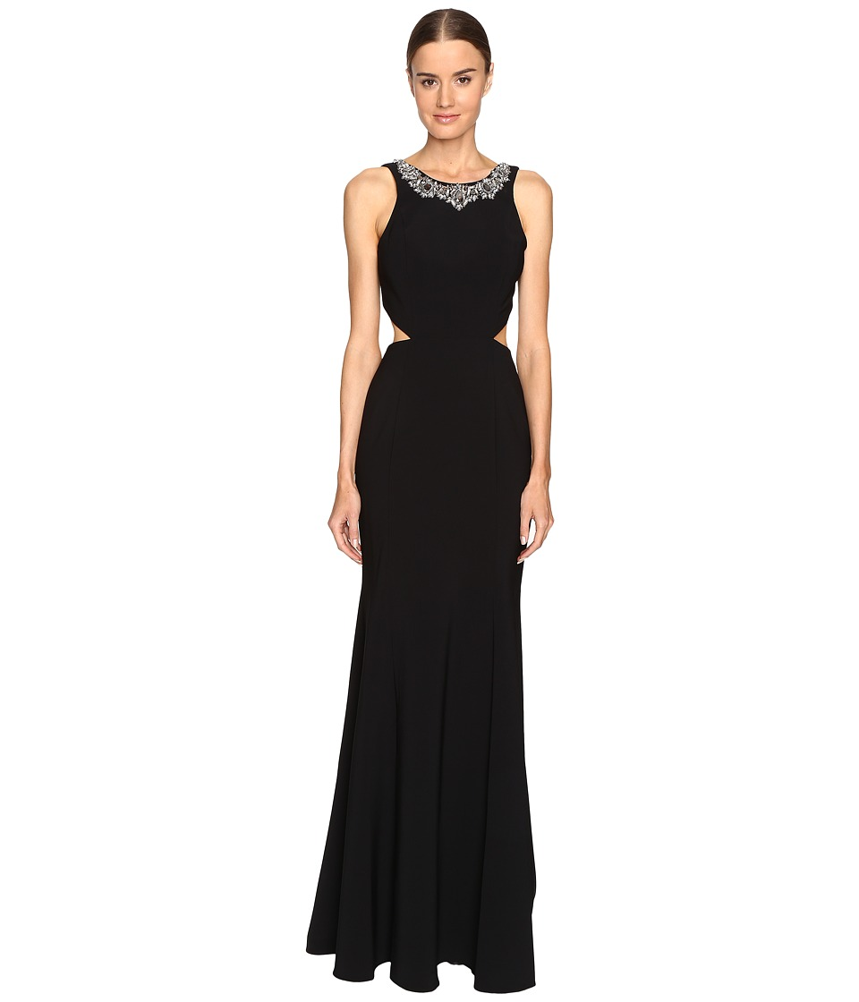 Marchesa Notte Crepe Gown with Cut Out Detail and Beaded Neckline (Black) Women