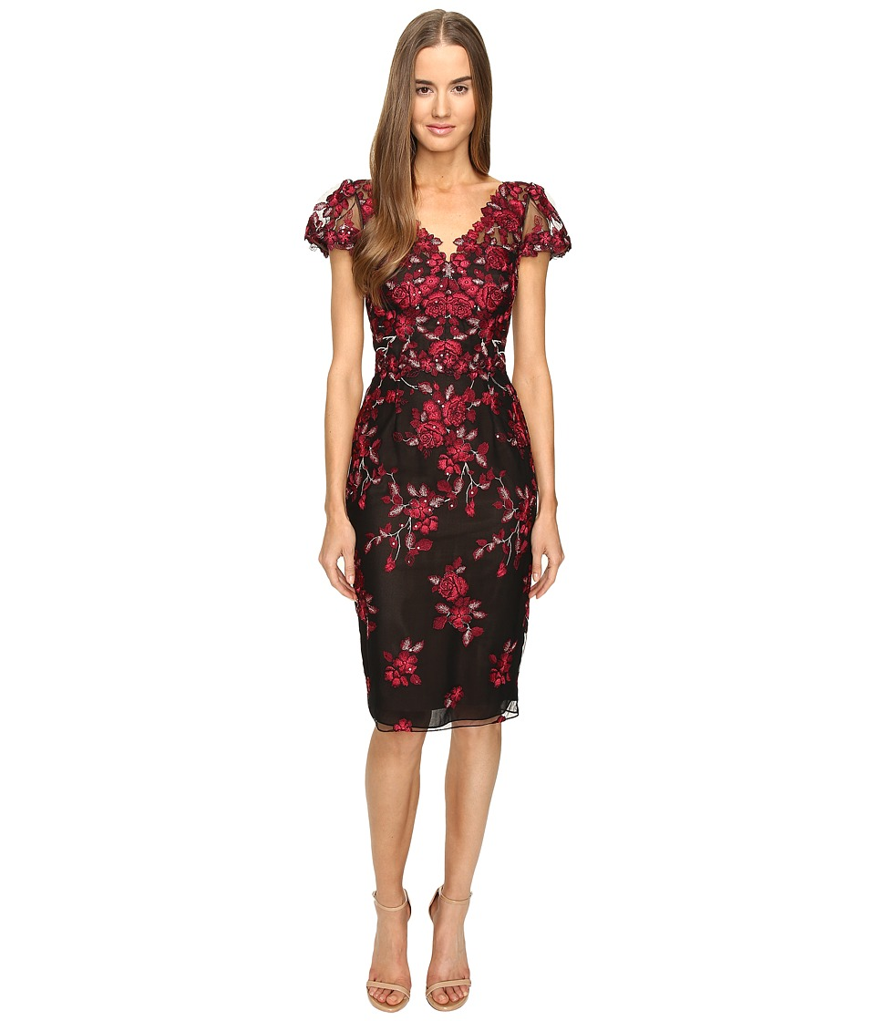 Marchesa Notte Threadwork Embroidered Sheath Dress with Cap Sleeves (Black) Women