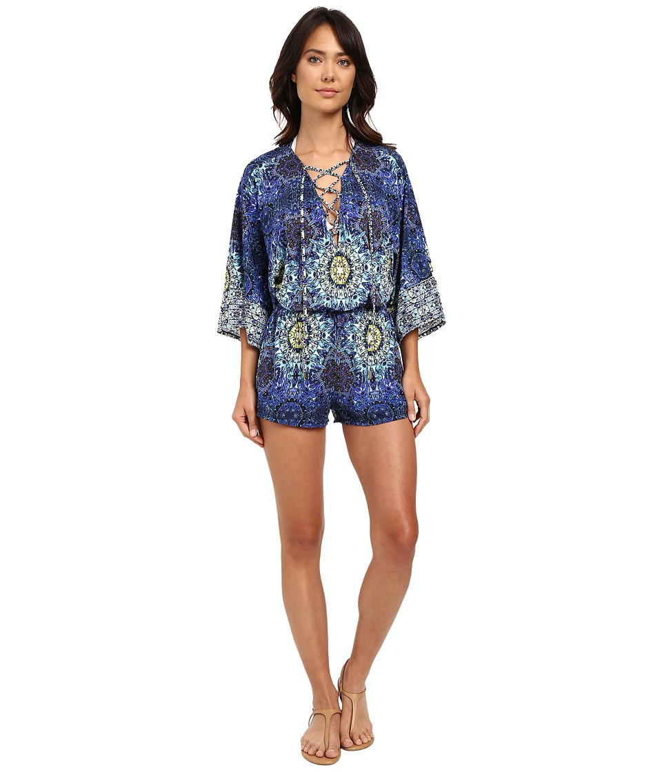Red Carter - Polaris Jersey Paneled Romper Cover-Up (Navy Multi) Women's Swimsuits One Piece