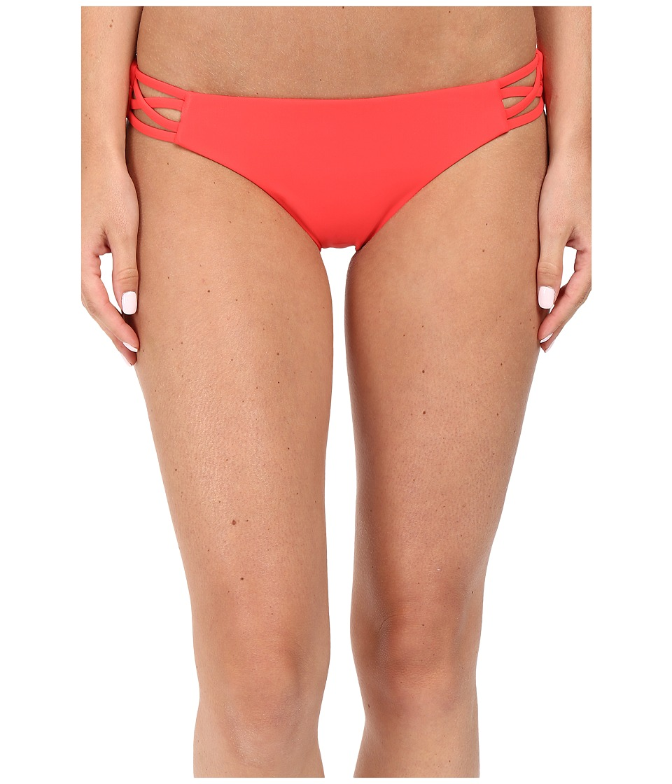 Red Carter - Splice Dice Side Cut Out Classic Hipster Bottoms (Coral) Women's Swimwear
