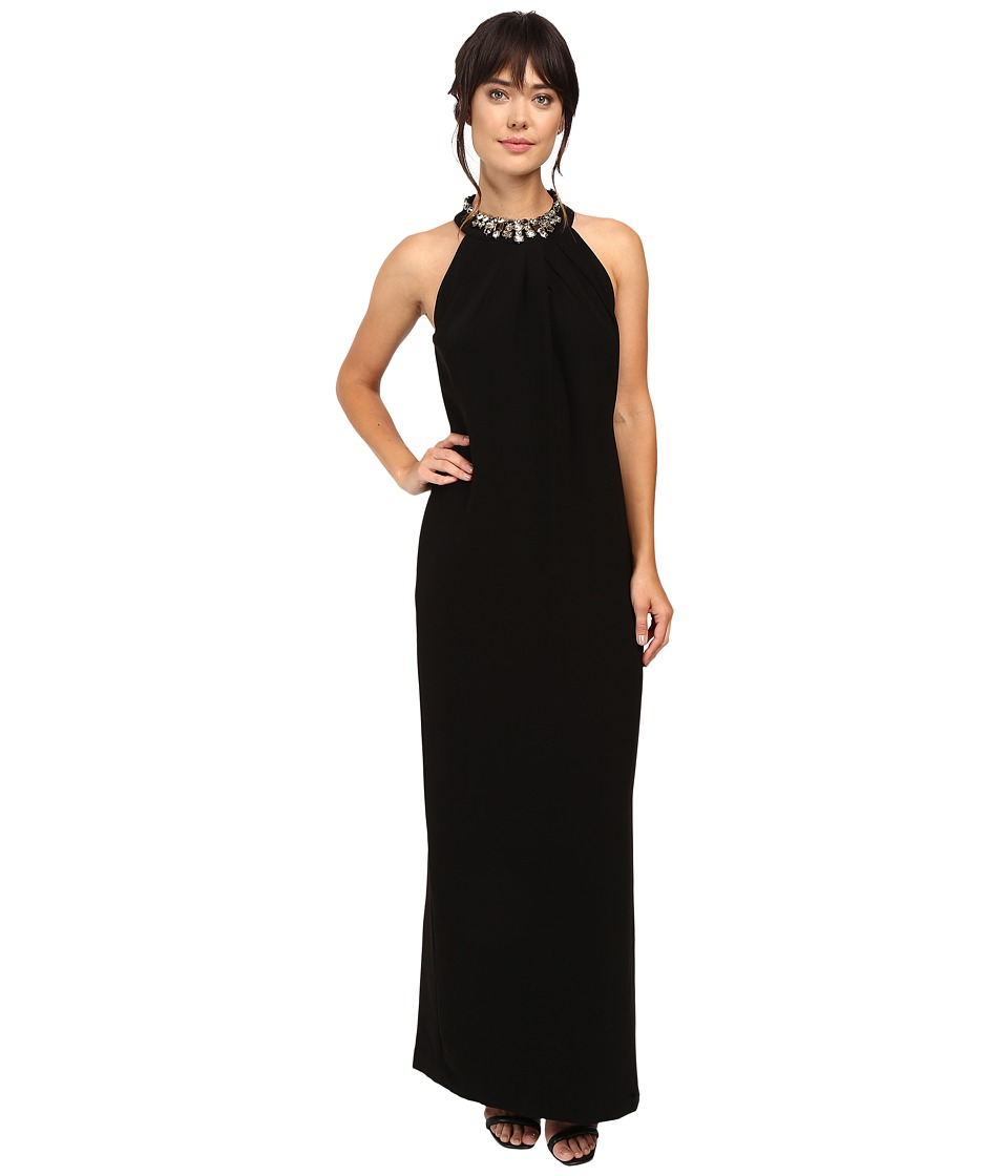 Tahari by ASL - Crepe Jewelled Halter Neck Gown (Black) Women's Dress