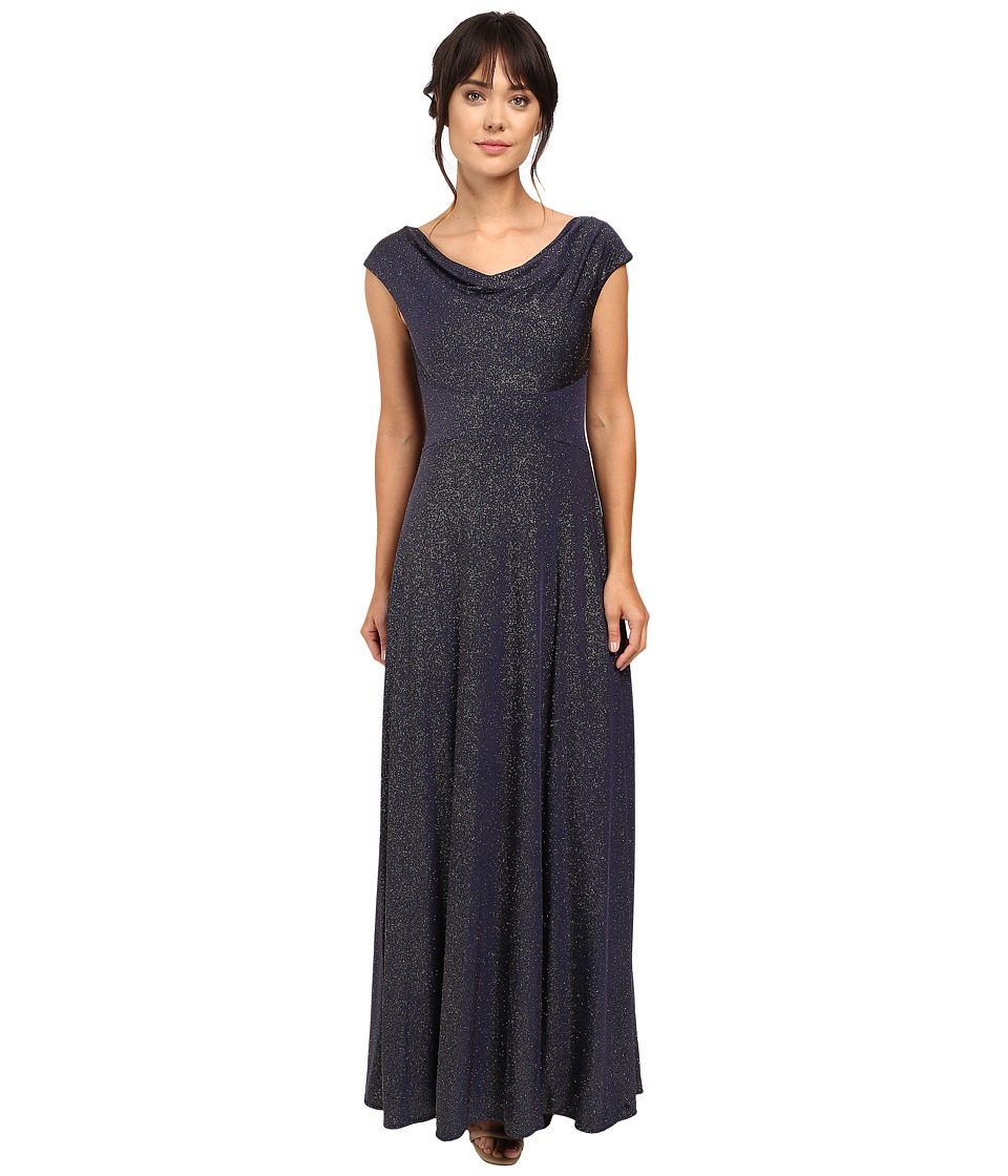 Tahari by ASL - Glitter Jersey Cowl Neck Gown (Navy/Gold) Women's Dress