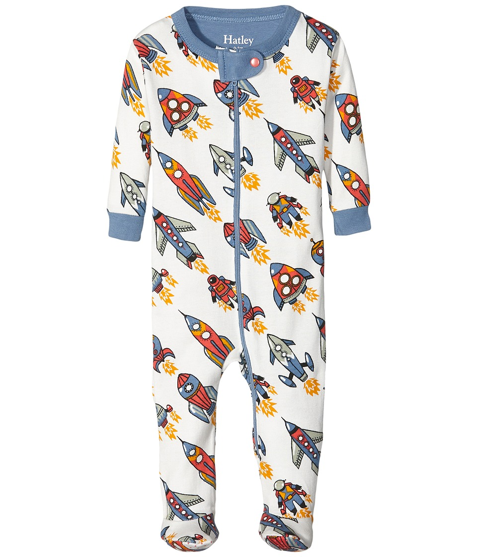 Hatley Kids - Retro Rockets Footed Coverall (Infant) (Natural) Boy's Overalls One Piece