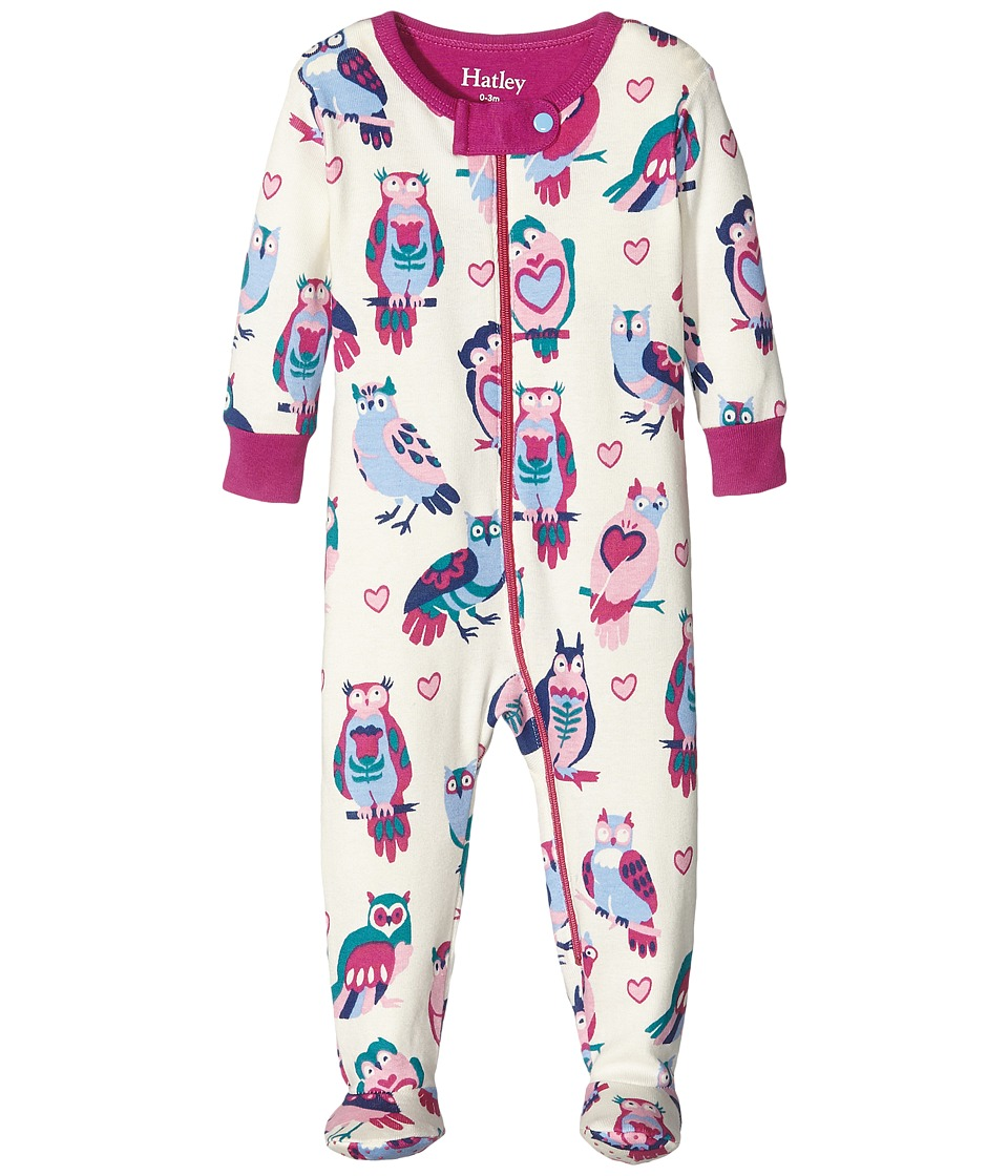 Hatley Kids - Happy Owls Footed Coverall (Infant) (Natural) Girl's Overalls One Piece