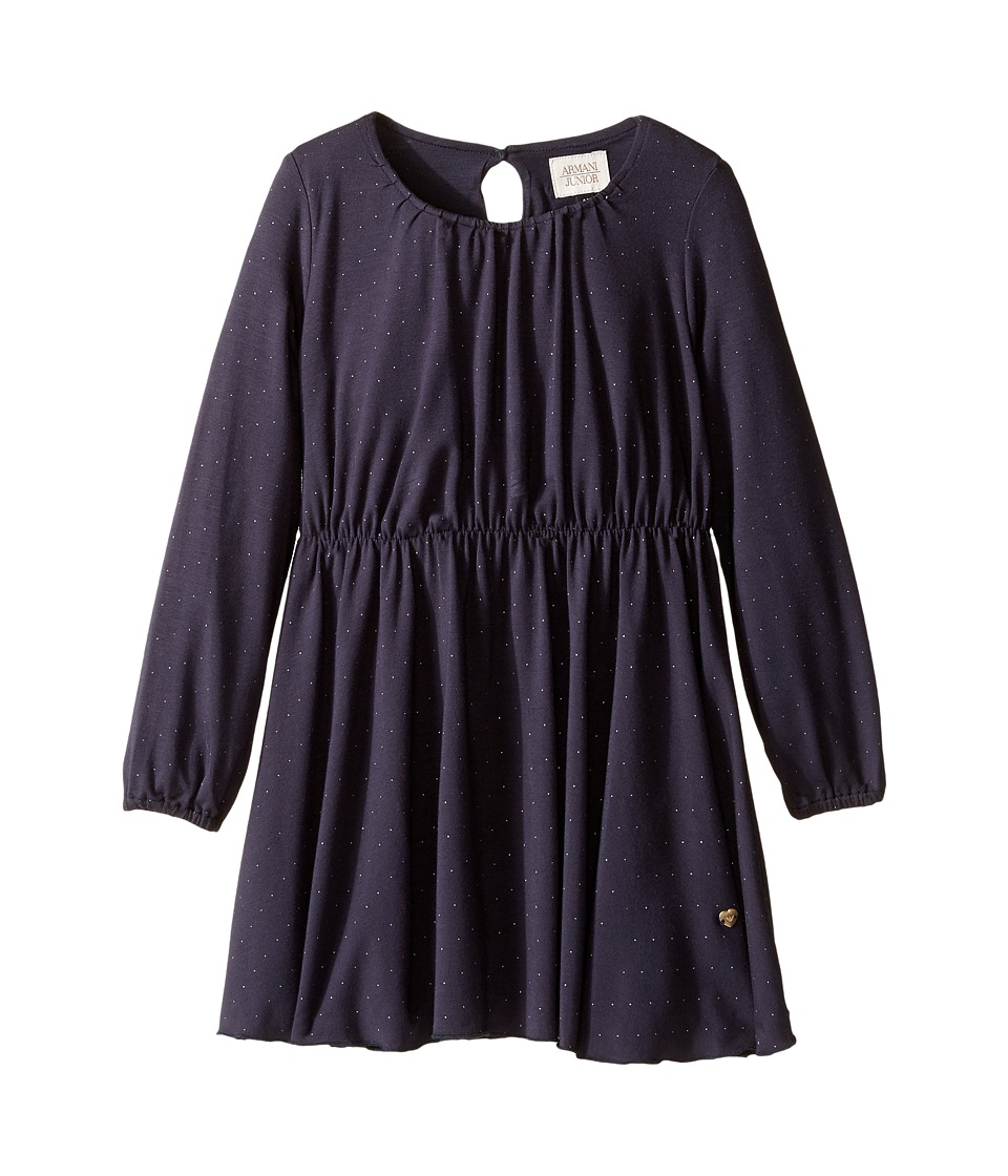 Armani Junior - Sparkle Long Sleeve Dress (Toddler/Little Kids/Big Kids) (Navy) Girl's Dress