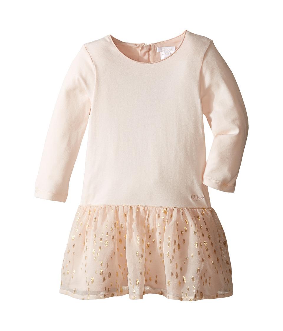 Chloe Kids - Bi Material Dress w/ Gold Piping (Infant) (Rose Pale) Girl's Dress