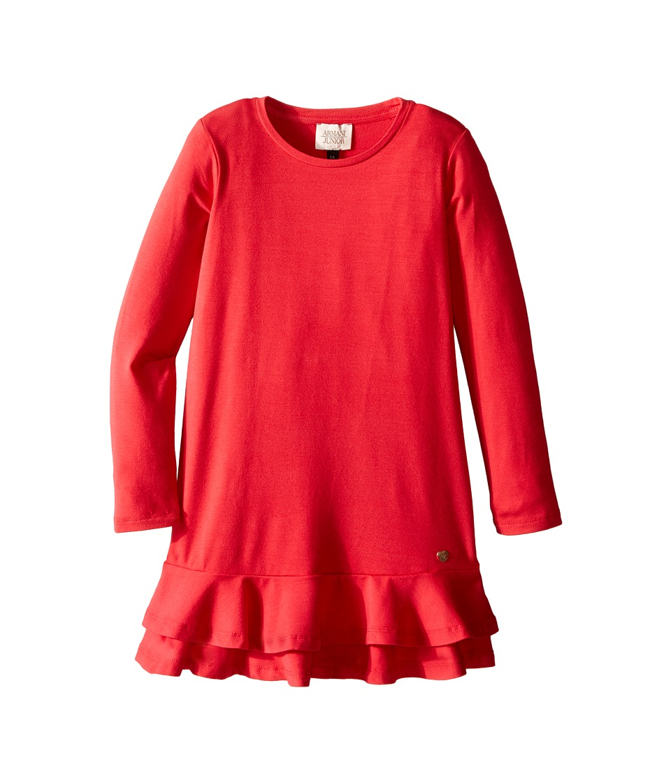Armani Junior - Jersey Dress with Ruffle Hem (Toddler/Little Kids/Big Kids) (Red) Girl's Dress