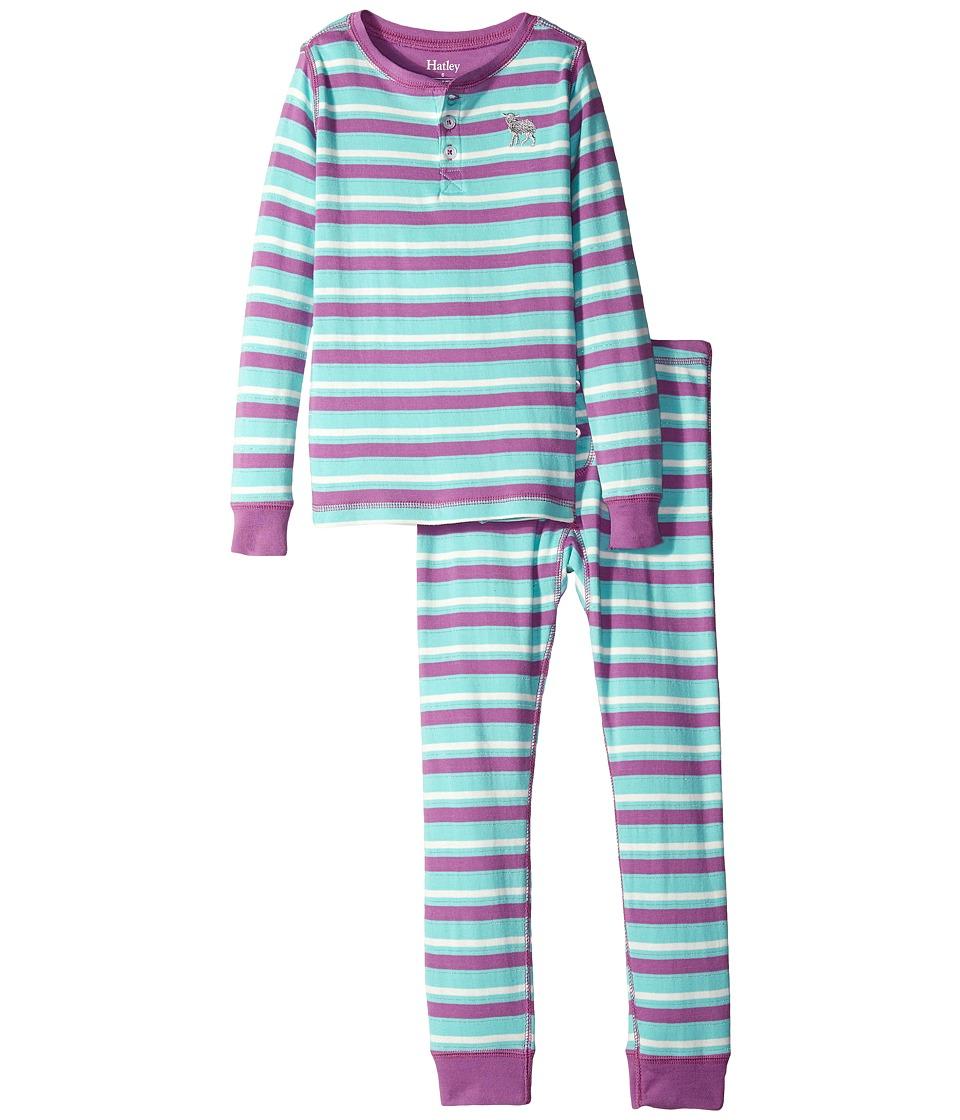 Hatley Kids - Icy Stripes Henley Pajama Set (Toddler/Little Kids/Big Kids) (Purple) Girl's Pajama Sets