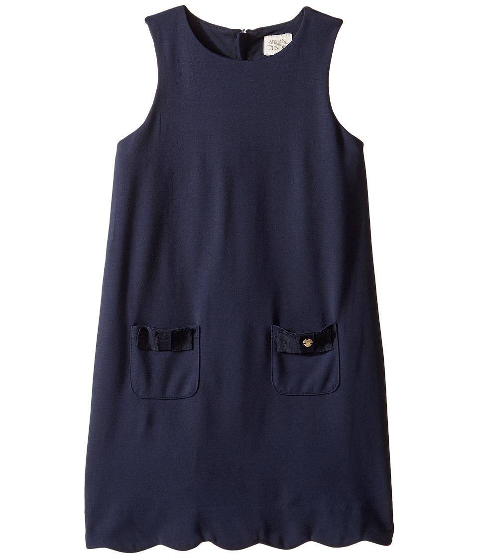 Armani Junior - Sleeveless Dress with Scallop Hem (Toddler/Little Kids/Big Kids) (Navy) Girl's Dress