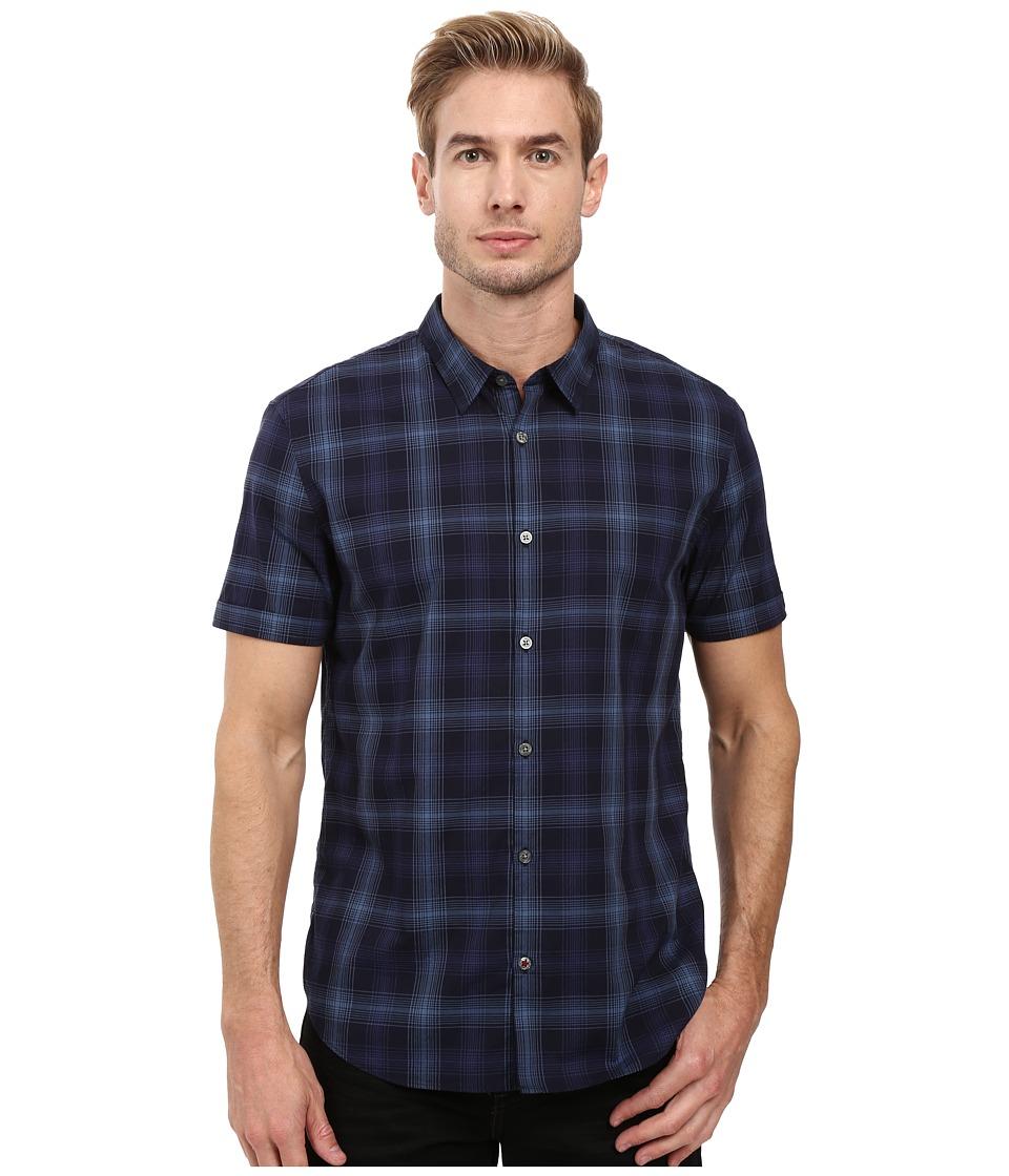 John Varvatos Star U.S.A. - Slim Fit Sport Shirt w/ Cuffed Short Sleeves W443S3B (Marine) Men's Clothing