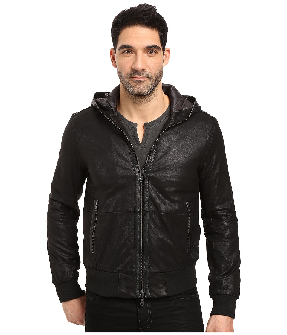 John Varvatos Star U.S.A. - Hooded Leather Bomber L985S3B (Black) Men's Coat