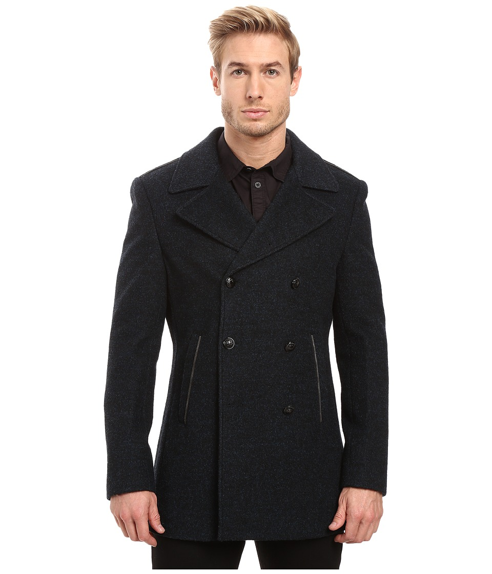 John Varvatos Star U.S.A. - Peacoat w/ Zipper Teeth Trim O1454S3L (Eclipse Blue) Men's Coat