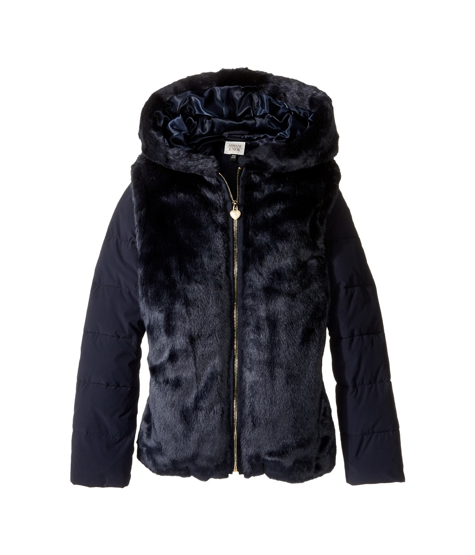 Armani Junior - Faux Fur Jacket (Toddler/Little Kids/Big Kids) (Navy) Girl's Coat