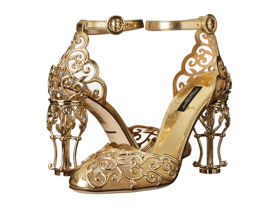 Dolce & Gabbana - Laser Cut Patent Leather Mesh w/ Metal Heel (Gold) Women's Shoes