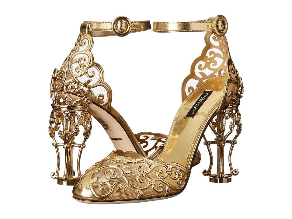Dolce & Gabbana - Laser Cut Patent Leather Mesh w/ Metal Heel (Gold) Women's Shoes