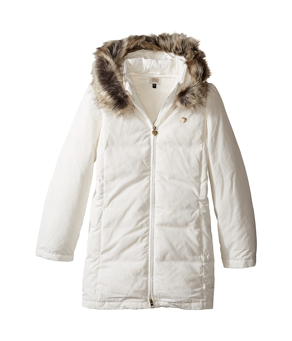 Armani Junior - Down Puffer with Faux Fur Trim (Toddler/Little Kids/Big Kids) (White) Girl's Coat