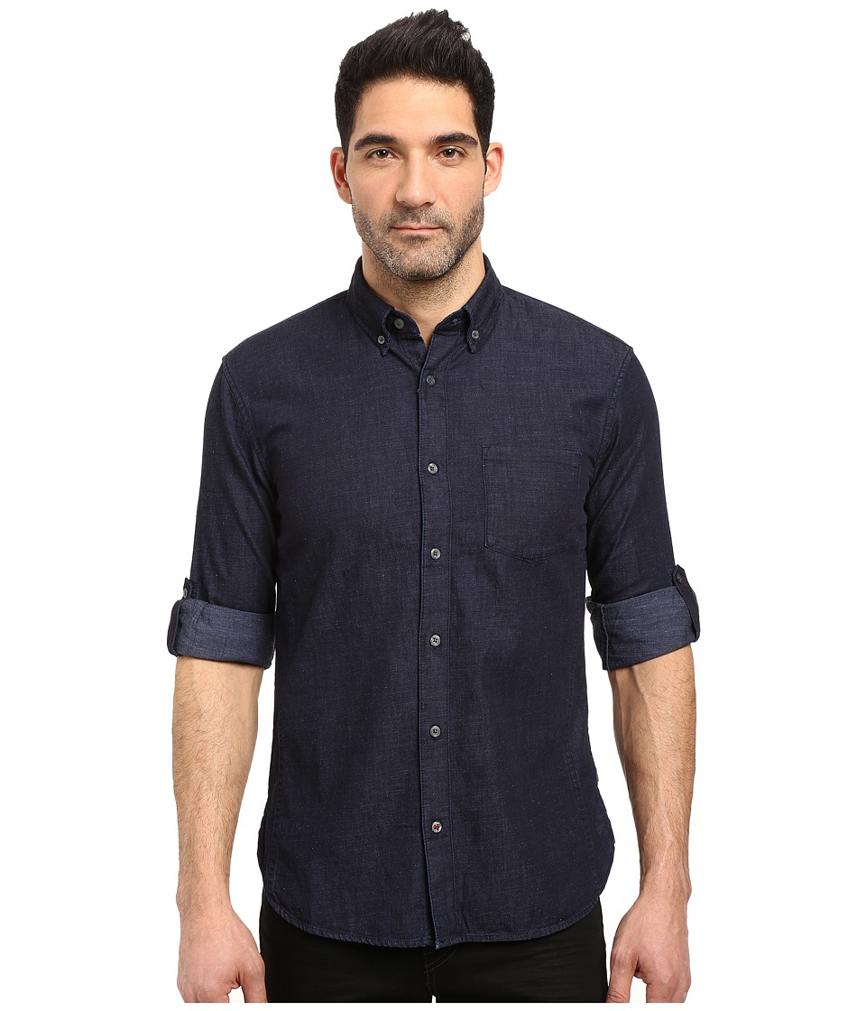 John Varvatos Star U.S.A. - Slim Fit Button Down Collar Sport Shirt w/ Roll Up Sleeve and Single Chest Pocket, Short Hem Length W530S3B (Indigo) Men's Clothing