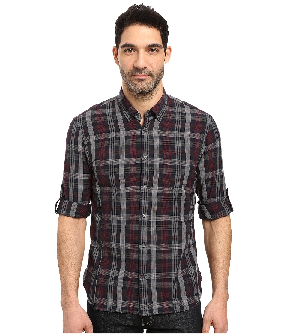 John Varvatos Star U.S.A. - Slim Fit Button Down Collar Sport Shirt w/ Roll Up Sleeve and Single Chest Pocket W387S3B (Black) Men's Clothing