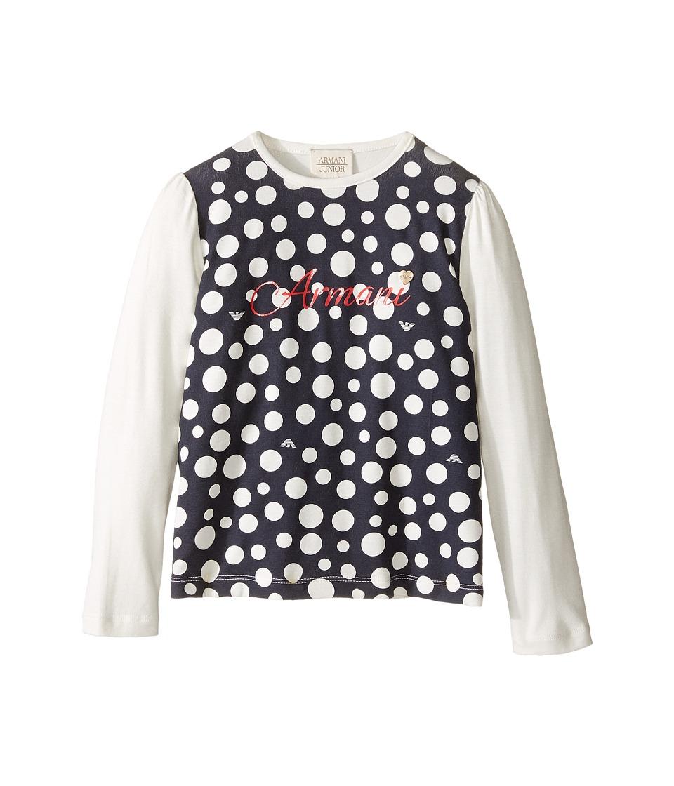 Armani Junior - Polka Dot Logo Tee (Toddler/Little Kids/Big Kids) (White) Girl's T Shirt