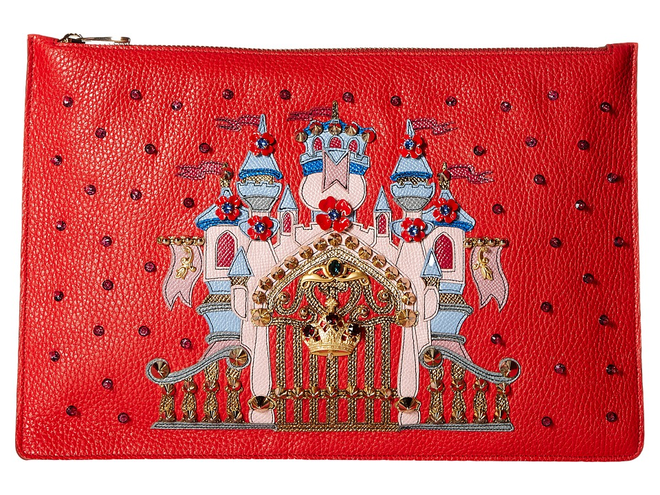 Dolce & Gabbana - Candleabra Embellished Zip Clutch (Red) Clutch Handbags