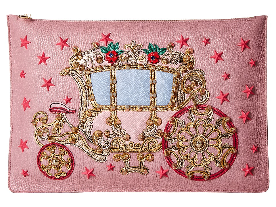 Dolce & Gabbana - Candleabra Embellished Zip Clutch (Pink) Clutch Handbags