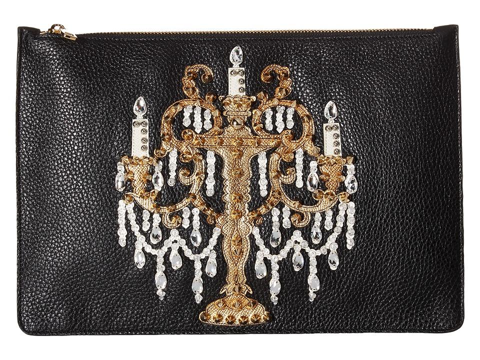Dolce & Gabbana - Candleabra Embellished Zip Clutch (Black) Clutch Handbags