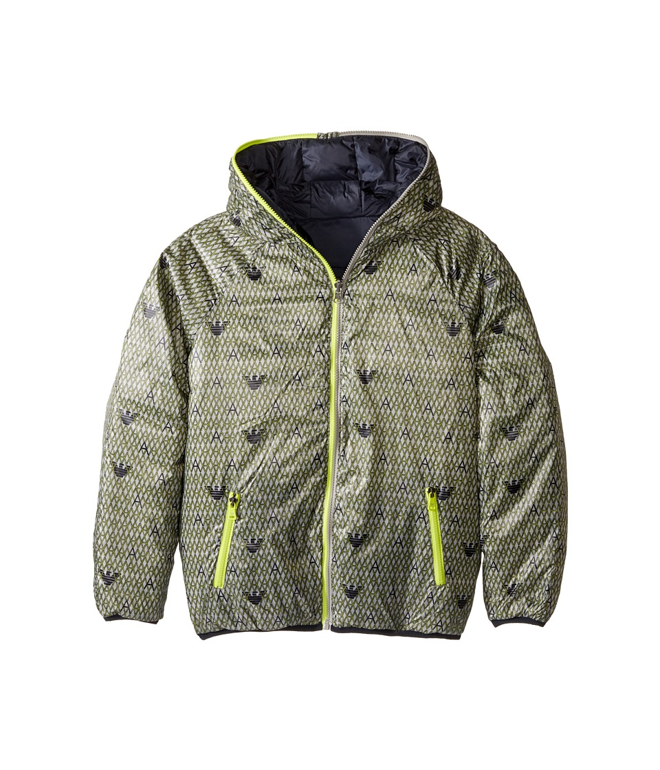 Armani Junior - Reversible Lunar Puffer Coat (Toddler/Little Kids/Big Kids) (Grey) Boy's Coat