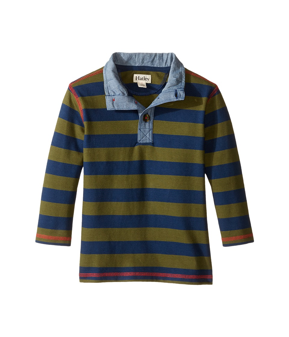 Hatley Kids - Farm Stripe Mock Neck (Toddler/Little Kids/Big Kids) (Blue) Boy's Clothing