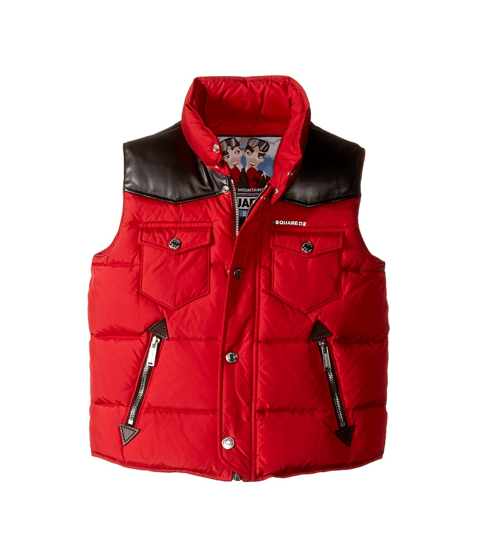 Dsquared2 Kids - Puffer Vest with Leather Detail (Little Kids/Big Kids) (Red) Boy's Vest