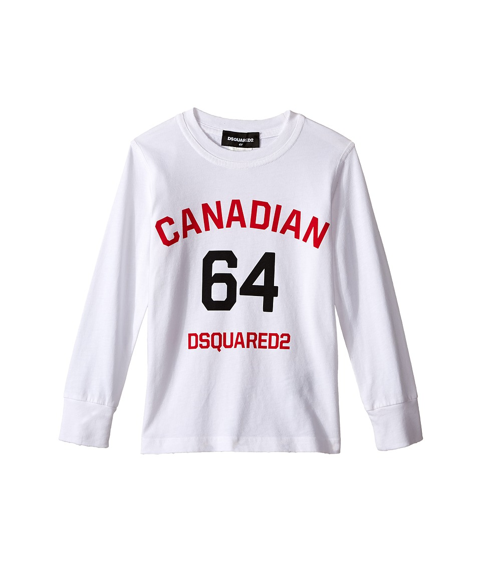 Dsquared2 Kids Long Sleeve Canadian Tee (Little Kids/Big Kids) (White) Boy