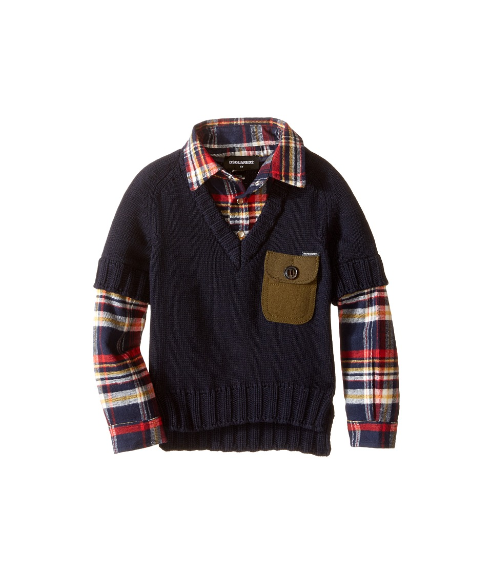 Dsquared2 Kids - 2-in-1 V-Neck Pullover w/ Flannel Shirt (Little Kids/Big Kids) (Eclipse) Boy's Clothing