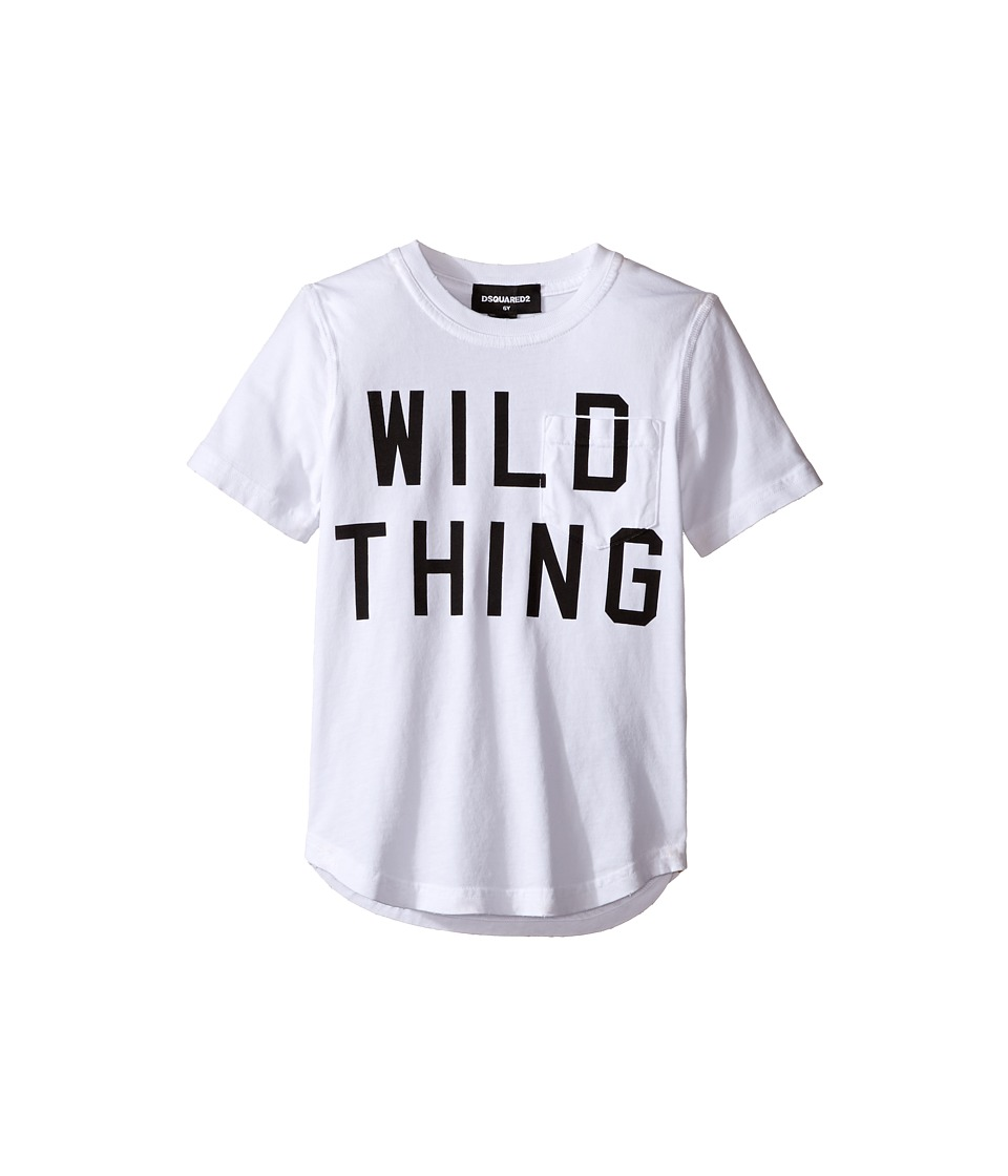 Dsquared2 Kids - Short Sleeve 'Wild Thing' Pocket Tee (Little Kids/Big Kids) (White) Boy's T Shirt