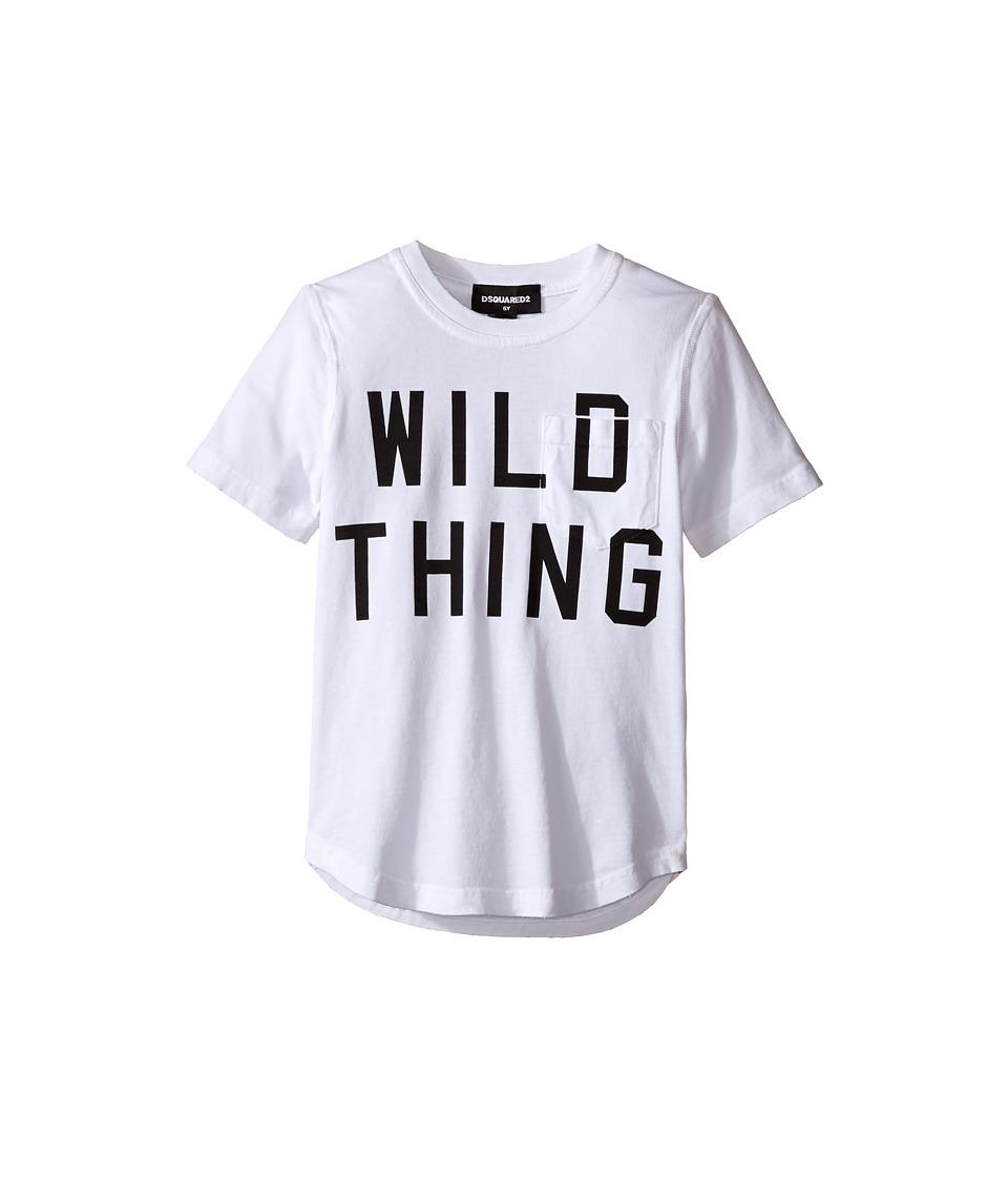 Dsquared2 Kids - Short Sleeve 'Wild Thing' Pocket Tee (Little Kids/Big Kids) (White) Boy's T Shirt