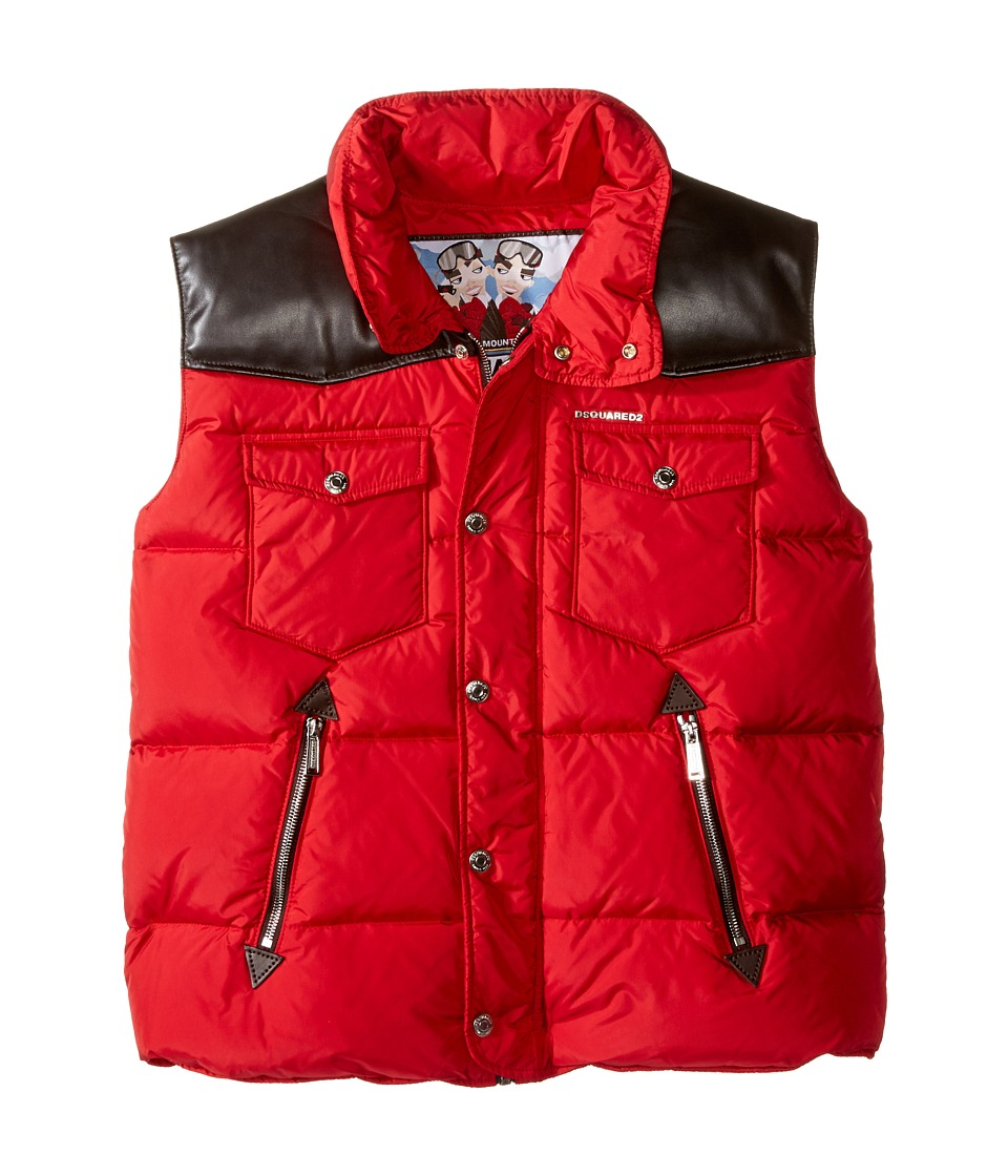 Dsquared2 Kids - Puffer Vest with Leather Detail (Big Kids) (Red) Boy's Vest
