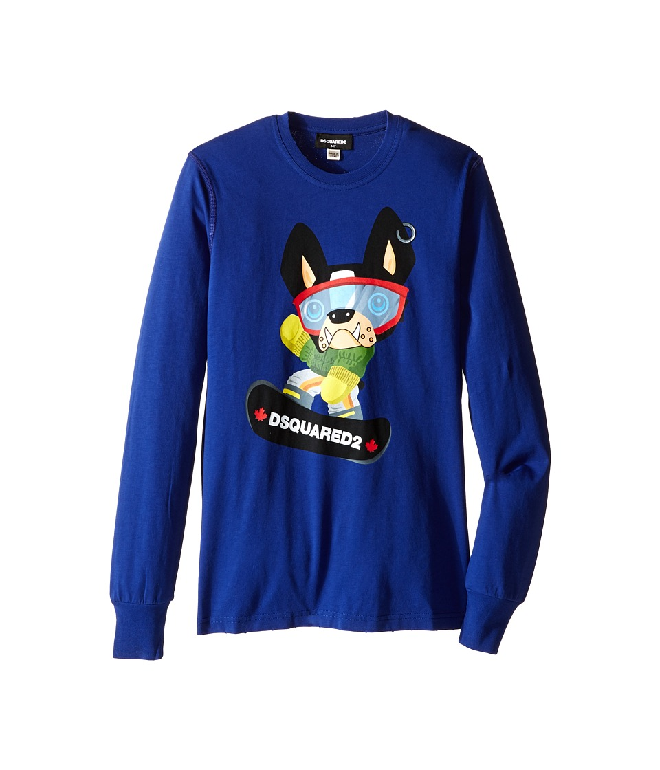 Dsquared2 Kids - Long Sleeve Skateboard Dog Graphic T-Shirt (Big Kids) (Blue) Boy's T Shirt
