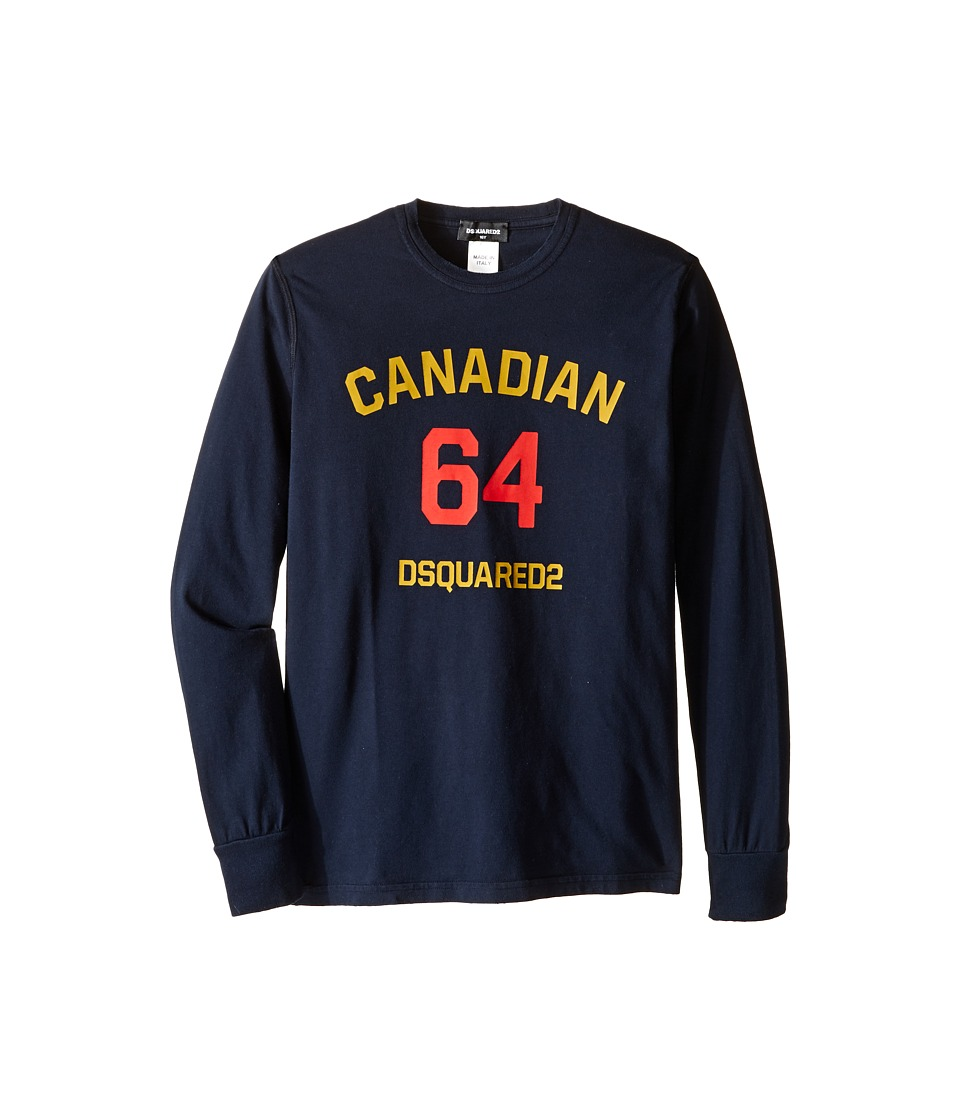Dsquared2 Kids Long Sleeve Canadian Tee (Big Kids) (Eclipse) Boy
