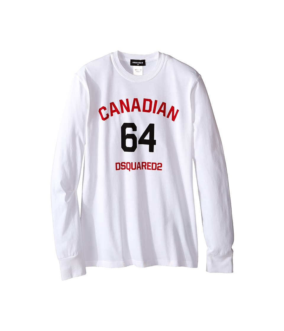 Dsquared2 Kids Long Sleeve Canadian Tee (Big Kids) (White) Boy