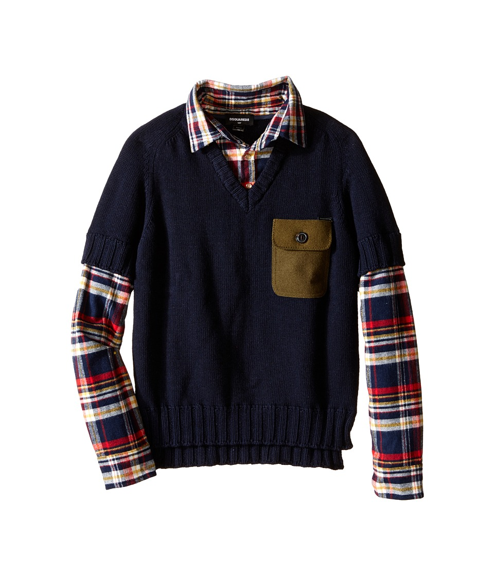 Dsquared2 Kids - 2-in-1 V-Neck Pullover w/ Flannel Shirt (Big Kids) (Eclipse) Boy's Clothing